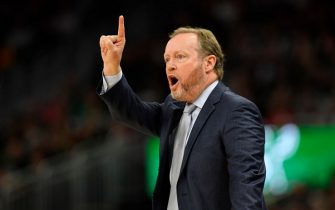 MILWAUKEE, WISCONSIN - NOVEMBER 30: Head coach Mike Budenholzer of the Milwaukee Bucks reacts in the game against the Charlotte Hornets at Fiserv Forum on November 30, 2019 in Milwaukee, Wisconsin.  NOTE TO USER: User expressly acknowledges and agrees that, by downloading and or using this photograph, User is consenting to the terms and conditions of the Getty Images License Agreement.    (Photo by Quinn Harris/Getty Images)