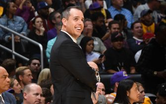 LOS ANGELES, CA - NOVEMBER 17: Head Coach, Frank Vogel of the Los Angeles Lakers smiles during the game against the Atlanta Hawks on November 17, 2019 at STAPLES Center in Los Angeles, California. NOTE TO USER: User expressly acknowledges and agrees that, by downloading and/or using this Photograph, user is consenting to the terms and conditions of the Getty Images License Agreement. Mandatory Copyright Notice: Copyright 2019 NBAE (Photo by Andrew D. Bernstein/NBAE via Getty Images)