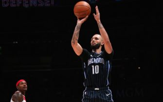WASHINGTON, DC - DECEMBER 3: Evan Fournier #10 of the Orlando Magic shoots the ball against the Washington Wizards on December 3, 2019 at Capital One Arena in Washington, DC. NOTE TO USER: User expressly acknowledges and agrees that, by downloading and or using this Photograph, user is consenting to the terms and conditions of the Getty Images License Agreement. Mandatory Copyright Notice: Copyright 2019 NBAE (Photo by Ned Dishman/NBAE via Getty Images)