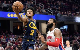 CLEVELAND, OHIO - DECEMBER 03: Collin Sexton #2 of the Cleveland Cavaliers shoots over Andre Drummond #0 of the Detroit Pistons during the second half at Rocket Mortgage Fieldhouse on December 03, 2019 in Cleveland, Ohio. The Pistons defeated the Cavaliers 127-94. NOTE TO USER: User expressly acknowledges and agrees that, by downloading and/or using this photograph, user is consenting to the terms and conditions of the Getty Images License Agreement. (Photo by Jason Miller/Getty Images)