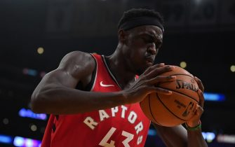 LOS ANGELES, CALIFORNIA - NOVEMBER 10:  Pascal Siakam #43 of the Toronto Raptors reacts to a Raptor foul during a 113-104 win over the Los Angeles Lakers at Staples Center on November 10, 2019 in Los Angeles, California. NOTE TO USER: User expressly acknowledges and agrees that, by downloading and/or using this photograph, user is consenting to the terms and conditions of the Getty Images License Agreement. (Photo by Harry How/Getty Images)