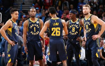 OKLAHOMA CITY, OK- DECEMBER 4: The Indiana Pacers huddle up during the game against the Oklahoma City Thunder on December 4, 2019 at Chesapeake Energy Arena in Oklahoma City, Oklahoma. NOTE TO USER: User expressly acknowledges and agrees that, by downloading and or using this photograph, User is consenting to the terms and conditions of the Getty Images License Agreement. Mandatory Copyright Notice: Copyright 2019 NBAE (Photo by Zach Beeker/NBAE via Getty Images)