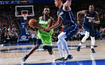 DALLAS, TX - DECEMBER 4: Andrew Wiggins #22 of the Minnesota Timberwolves handles the ball against the Dallas Mavericks on December 04, 2019 at the American Airlines Center in Dallas, Texas. NOTE TO USER: User expressly acknowledges and agrees that, by downloading and or using this photograph, User is consenting to the terms and conditions of the Getty Images License Agreement. Mandatory Copyright Notice: Copyright 2019 NBAE (Photo by Glenn James/NBAE via Getty Images)