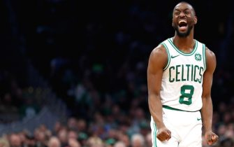 BOSTON, MASSACHUSETTS - DECEMBER 04: Kemba Walker #8 of the Boston Celtics reacts after missing a shot during the second half of the game between the Boston Celtics and the Miami Heat at TD Garden on December 04, 2019 in Boston, Massachusetts. The Celtics defeat the Heat 112-93. (Photo by Maddie Meyer/Getty Images)