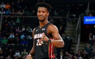 BOSTON, MA - DECEMBER 4: Jimmy Butler #22 of the Miami Heat smiles during the game against the Boston Celtics on December 4, 2019 at the TD Garden in Boston, Massachusetts.  NOTE TO USER: User expressly acknowledges and agrees that, by downloading and or using this photograph, User is consenting to the terms and conditions of the Getty Images License Agreement. Mandatory Copyright Notice: Copyright 2019 NBAE  (Photo by Brian Babineau/NBAE via Getty Images)