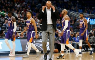 ORLANDO, FLORIDA - DECEMBER 04:  Head coach Monty Williams of the Phoenix Suns reacts against the Orlando Magic during the second half at Amway Center on December 04, 2019 in Orlando, Florida. NOTE TO USER: User expressly acknowledges and agrees that, by downloading and/or using this photograph, user is consenting to the terms and conditions of the Getty Images License Agreement. (Photo by Michael Reaves/Getty Images)