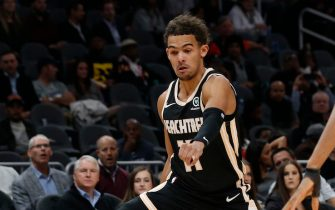 ATLANTA, GEORGIA - DECEMBER 04: Guard Trae Young #11 of the Atlanta Hawks dribbles between his legs during the game against the Brooklyn Nets at State Farm Arena on December 04, 2019 in Atlanta, Georgia. (Photo by Mike Zarrilli/Getty Images)