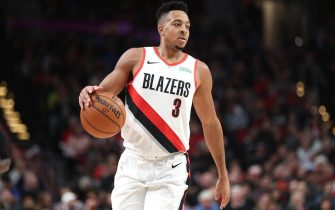 PORTLAND, OREGON - DECEMBER 04: CJ McCollum #3 of the Portland Trail Blazers handles the ball in the second quarter against the Sacramento Kings during their game at Moda Center on December 04, 2019 in Portland, Oregon. NOTE TO USER: User expressly acknowledges and agrees that, by downloading and or using this photograph, User is consenting to the terms and conditions of the Getty Images License Agreement (Photo by Abbie Parr/Getty Images)
