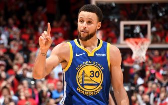 TORONTO, CANADA - JUNE 10: Stephen Curry #30 of the Golden State Warriors reacts to a play during Game Five of the NBA Finals against the Toronto Raptors on June 10, 2019 at Scotiabank Arena in Toronto, Ontario, Canada. NOTE TO USER: User expressly acknowledges and agrees that, by downloading and/or using this photograph, user is consenting to the terms and conditions of the Getty Images License Agreement. Mandatory Copyright Notice: Copyright 2019 NBAE (Photo by Andrew D. Bernstein/NBAE via Getty Images)