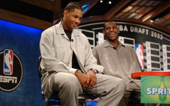 NEW YORK - JUNE 25:  Carmelo Anthony (L) and Lebron James laugh during an interview for ESPN at The Theatre at Madison Square Garden June 25, 2003 in New York City. NOTE TO USER: User expressly acknowledges and agrees that, by downloading and/or using this Photograph, User is consenting to the terms and conditions of the Getty Images License Agreement.  Copyright 2003 NBAE (Photo by Jesse D. Garrabrant/NBAE via Getty Images)