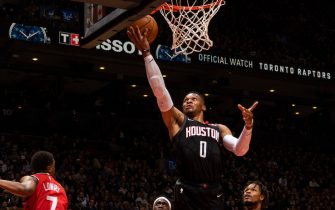 TORONTO, CANADA - DECEMBER 5:  Russell Westbrook #0 of the Houston Rockets shoots the ball against the Toronto Raptors on December 5, 2019 at the Scotiabank Arena in Toronto, Ontario, Canada.  NOTE TO USER: User expressly acknowledges and agrees that, by downloading and or using this Photograph, user is consenting to the terms and conditions of the Getty Images License Agreement.  Mandatory Copyright Notice: Copyright 2019 NBAE (Photo by Mark Blinch/NBAE via Getty Images)