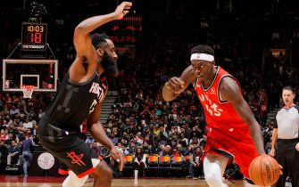 TORONTO, CANADA - DECEMBER 5: Pascal Siakam #43 of the Toronto Raptors handles the ball against the Houston Rockets on December 5, 2019 at the Scotiabank Arena in Toronto, Ontario, Canada.  NOTE TO USER: User expressly acknowledges and agrees that, by downloading and or using this Photograph, user is consenting to the terms and conditions of the Getty Images License Agreement.  Mandatory Copyright Notice: Copyright 2019 NBAE (Photo by Mark Blinch/NBAE via Getty Images)