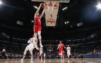 NEW ORLEANS, LA - DECEMBER 5: Nicolo Melli #20 of the New Orleans Pelicans dunks the ball against the Phoenix Suns on December 5, 2019 at the Smoothie King Center in New Orleans, Louisiana. NOTE TO USER: User expressly acknowledges and agrees that, by downloading and or using this Photograph, user is consenting to the terms and conditions of the Getty Images License Agreement. Mandatory Copyright Notice: Copyright 2019 NBAE (Photo by Layne Murdoch Jr./NBAE via Getty Images)
