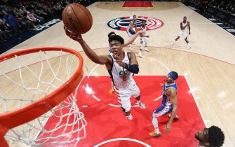 WASHINGTON, DC - DECEMBER 5: Rui Hachimura #8 of the Washington Wizards shoots the ball against the Philadelphia 76ers on December 5, 2019 at Capital One Arena in Washington, DC. NOTE TO USER: User expressly acknowledges and agrees that, by downloading and or using this Photograph, user is consenting to the terms and conditions of the Getty Images License Agreement. Mandatory Copyright Notice: Copyright 2019 NBAE (Photo by Ned Dishman/NBAE via Getty Images)
