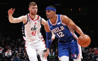 WASHINGTON, DC - DECEMBER 5: Tobias Harris #12 of the Philadelphia 76ers handles the ball against the Washington Wizards on December 5, 2019 at Capital One Arena in Washington, DC. NOTE TO USER: User expressly acknowledges and agrees that, by downloading and or using this Photograph, user is consenting to the terms and conditions of the Getty Images License Agreement. Mandatory Copyright Notice: Copyright 2019 NBAE (Photo by Ned Dishman/NBAE via Getty Images)