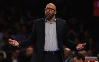 NEW YORK, NEW YORK - DECEMBER 05:  David Fizdale of the New York Knicks reacts to a call against his team in the first half against the Denver Nuggets at Madison Square Garden on December 05, 2019 in New York City. NOTE TO USER: User expressly acknowledges and agrees that, by downloading and or using this photograph, User is consenting to the terms and conditions of the Getty Images License Agreement. (Photo by Elsa/Getty Images)