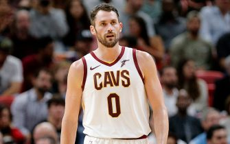 MIAMI, FLORIDA - NOVEMBER 20: Kevin Love #0 of the Cleveland Cavaliers looks on against the Miami Heat during the first half at American Airlines Arena on November 20, 2019 in Miami, Florida. NOTE TO USER: User expressly acknowledges and agrees that, by downloading and/or using this photograph, user is consenting to the terms and conditions of the Getty Images License Agreement.  (Photo by Michael Reaves/Getty Images)
