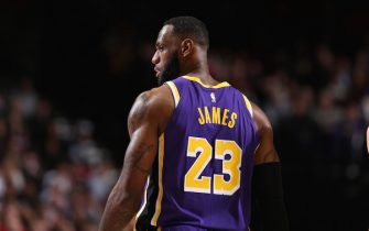 PORTLAND, OR - DECEMBER 6: LeBron James #23 of the Los Angeles Lakers looks on during a game against the Portland Trail Blazers on December 6, 2019 at the Moda Center Arena in Portland, Oregon. NOTE TO USER: User expressly acknowledges and agrees that, by downloading and or using this photograph, user is consenting to the terms and conditions of the Getty Images License Agreement. Mandatory Copyright Notice: Copyright 2019 NBAE (Photo by Sam Forencich/NBAE via Getty Images)