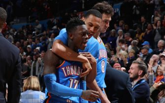 OKLAHOMA CITY, OK- DECEMBER 6: Dennis Schroder #17 of the Oklahoma City Thunder reacts to a play during the game against the Minnesota Timberwolves on December 6, 2019 at Chesapeake Energy Arena in Oklahoma City, Oklahoma. NOTE TO USER: User expressly acknowledges and agrees that, by downloading and or using this photograph, User is consenting to the terms and conditions of the Getty Images License Agreement. Mandatory Copyright Notice: Copyright 2019 NBAE (Photo by Zach Beeker/NBAE via Getty Images)