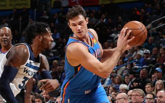 OKLAHOMA CITY, OK- DECEMBER 6: Danilo Gallinari #8 of the Oklahoma City Thunder handles the ball against the Minnesota Timberwolves on December 6, 2019 at Chesapeake Energy Arena in Oklahoma City, Oklahoma. NOTE TO USER: User expressly acknowledges and agrees that, by downloading and or using this photograph, User is consenting to the terms and conditions of the Getty Images License Agreement. Mandatory Copyright Notice: Copyright 2019 NBAE (Photo by Zach Beeker/NBAE via Getty Images)
