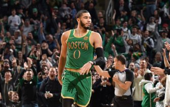 BOSTON, MA - DECEMBER 6: Jayson Tatum #0 of the Boston Celtics reacts during a game against the Denver Nuggets on December 6, 2019 at the TD Garden in Boston, Massachusetts.  NOTE TO USER: User expressly acknowledges and agrees that, by downloading and or using this photograph, User is consenting to the terms and conditions of the Getty Images License Agreement. Mandatory Copyright Notice: Copyright 2019 NBAE  (Photo by Brian Babineau/NBAE via Getty Images)