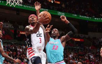 MIAMI, FL - DECEMBER 6: Bradley Beal #3 of the Washington Wizards shoots the ball during the game against the Miami Heat on December 6, 2019 at American Airlines Arena in Miami, Florida. NOTE TO USER: User expressly acknowledges and agrees that, by downloading and or using this Photograph, user is consenting to the terms and conditions of the Getty Images License Agreement. Mandatory Copyright Notice: Copyright 2019 NBAE (Photo by Issac Baldizon/NBAE via Getty Images)