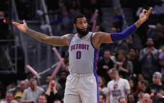 DETROIT, MI - DECEMBER 06: Andre Drummond #0 of the Detroit Pistons celebrates late in the fourth quarter of a game against the Indiana Pacers at Little Caesars Arena on December 6, 2019 in Detroit, Michigan. NOTE TO USER: User expressly acknowledges and agrees that, by downloading and or using this photograph, User is consenting to the terms and conditions of the Getty Images License Agreement. (Photo by Rey Del Rio/Getty Images) *** Local Caption *** Andre Drummond