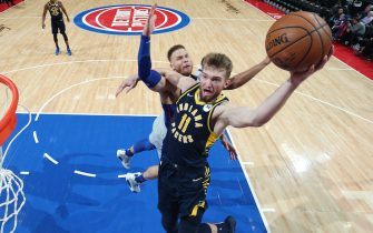 DETROIT, MI - DECEMBER 6: Domantas Sabonis #11 of the Indiana Pacers shoots the ball against the Detroit Pistons on December 6, 2019 at Little Caesars Arena in Detroit, Michigan. NOTE TO USER: User expressly acknowledges and agrees that, by downloading and/or using this photograph, User is consenting to the terms and conditions of the Getty Images License Agreement. Mandatory Copyright Notice: Copyright 2019 NBAE (Photo by Brian Sevald/NBAE via Getty Images)