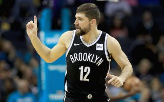 CHARLOTTE, NORTH CAROLINA - DECEMBER 06: Joe Harris #12 of the Brooklyn Nets reacts after a basket against the Charlotte Hornets during their game at Spectrum Center on December 06, 2019 in Charlotte, North Carolina. NOTE TO USER: User expressly acknowledges and agrees that, by downloading and or using this photograph, User is consenting to the terms and conditions of the Getty Images License Agreement. (Photo by Streeter Lecka/Getty Images)