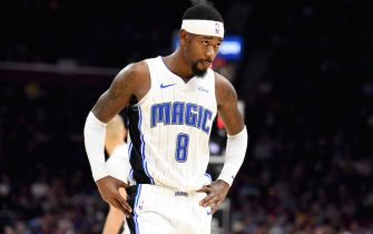 CLEVELAND, OHIO - DECEMBER 06: Terrence Ross #8 of the Orlando Magic walks back to the bench during the second half against the Cleveland Cavaliers at Rocket Mortgage Fieldhouse on December 06, 2019 in Cleveland, Ohio. The Magic defeated the Cavaliers 93-87. NOTE TO USER: User expressly acknowledges and agrees that, by downloading and/or using this photograph, user is consenting to the terms and conditions of the Getty Images License Agreement. (Photo by Jason Miller/Getty Images)