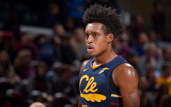 CLEVELAND, OH - NOVEMBER 27: Collin Sexton #2 of the Cleveland Cavaliers looks on against the Orlando Magic on November 27, 2019 at Rocket Mortgage FieldHouse in Cleveland, Ohio. NOTE TO USER: User expressly acknowledges and agrees that, by downloading and/or using this Photograph, user is consenting to the terms and conditions of the Getty Images License Agreement. Mandatory Copyright Notice: Copyright 2019 NBAE (Photo by David Liam Kyle/NBAE via Getty Images)