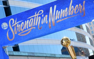OAKLAND, CA - JUNE 12: The Larry O'Brien Championship Trophy seen during the Golden State Warriors Victory Parade on June 12, 2018 in Oakland, California. NOTE TO USER: User expressly acknowledges and agrees that, by downloading and/or using this photograph, user is consenting to the terms and conditions of Getty Images License Agreement. Mandatory Copyright Notice: Copyright 2018 NBAE (Photo by Noah Graham/NBAE via Getty Images)