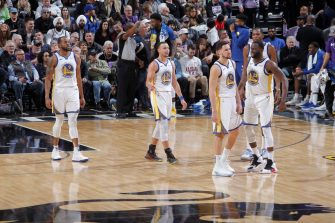 SACRAMENTO, CA - JANUARY 5: Andre Iguodala #9, Stephen Curry #30, Klay Thompson #11, Draymond Green #23 and Kevin Durant #35 of the Golden State Warriors face the Sacramento Kings on January 5, 2019 at Golden 1 Center in Sacramento, California. NOTE TO USER: User expressly acknowledges and agrees that, by downloading and or using this photograph, User is consenting to the terms and conditions of the Getty Images Agreement. Mandatory Copyright Notice: Copyright 2019 NBAE (Photo by Rocky Widner/NBAE via Getty Images)