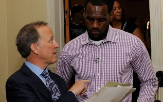 GREENWICH, CT - JULY 08:  (EXCLUSIVE COVERAGE)  Jim Gray of ESPN speaks with LeBron James at attends the LeBron James Pre Decision Meet and Greet on July 8, 2010 in Greenwich, Connecticut. Proceeds from tonight's 2.5 million dollar event will be donated to the Boys & Girls Clubs of America.  (Photo by Larry Busacca/Getty Images for Estabrook Group)