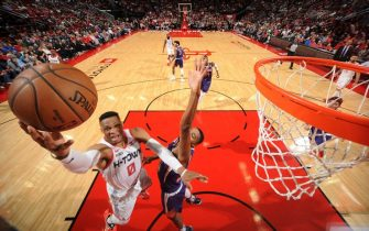HOUSTON, TX - DECEMBER 7 : Russell Westbrook #0 of the Houston Rockets shoots the ball during the game against the Phoenix Suns on December 7, 2019 at the Toyota Center in Houston, Texas. NOTE TO USER: User expressly acknowledges and agrees that, by downloading and or using this photograph, User is consenting to the terms and conditions of the Getty Images License Agreement. Mandatory Copyright Notice: Copyright 2019 NBAE (Photo by Bill Baptist/NBAE via Getty Images)