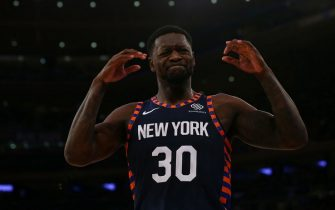 NEW YORK, NEW YORK - DECEMBER 07:  Julius Randle #30 of the New York Knicks reacts during the game against the Indiana Pacers at Madison Square Garden on December 07, 2019 in New York City. Indiana Pacers defeated the New York Knicks 104-103. NOTE TO USER: User expressly acknowledges and agrees that, by downloading and or using this photograph, User is consenting to the terms and conditions of the Getty Images License Agreement. Mandatory Copyright Notice: Copyright 2019 NBAE.  (Photo by Mike Stobe/Getty Images)