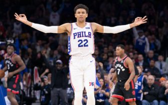 PHILADELPHIA, PA - DECEMBER 08: Matisse Thybulle #22 of the Philadelphia 76ers reacts after making a three point basket against the Toronto Raptors in the third quarter at Wells Fargo Center on December 8, 2019 in Philadelphia, Pennsylvania. The 76ers defeated the Raptors 110-104. NOTE TO USER: User expressly acknowledges and agrees that, by downloading and/or using this photograph, user is consenting to the terms and conditions of the Getty Images License Agreement. (Photo by Mitchell Leff/Getty Images)