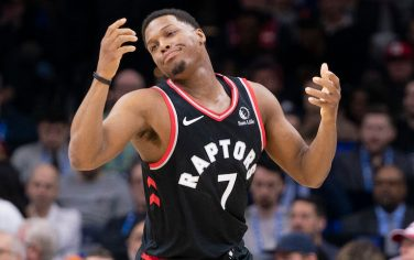 PHILADELPHIA, PA - DECEMBER 08: Kyle Lowry #7 of the Toronto Raptors reacts against the Philadelphia 76ers in the second quarter at Wells Fargo Center on December 8, 2019 in Philadelphia, Pennsylvania. NOTE TO USER: User expressly acknowledges and agrees that, by downloading and/or using this photograph, user is consenting to the terms and conditions of the Getty Images License Agreement. (Photo by Mitchell Leff/Getty Images) *** Local Caption *** Kyle Lowry