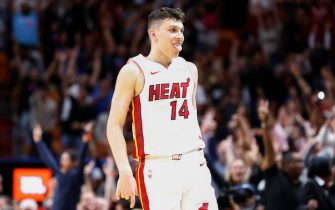 MIAMI, FLORIDA - DECEMBER 08:  Tyler Herro #14 of the Miami Heat celebrates after a three pointer in overtime against the Chicago Bulls at American Airlines Arena on December 08, 2019 in Miami, Florida. NOTE TO USER: User expressly acknowledges and agrees that, by downloading and/or using this photograph, user is consenting to the terms and conditions of the Getty Images License Agreement. (Photo by Michael Reaves/Getty Images)