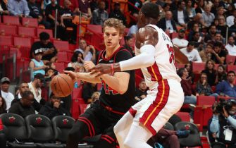 MIAMI, FL - DECEMBER 8: Lauri Markkanen #24 of the Chicago Bulls handles the ball during a game against the Miami Heat on December 8, 2019 at American Airlines Arena in Miami, Florida. NOTE TO USER: User expressly acknowledges and agrees that, by downloading and or using this Photograph, user is consenting to the terms and conditions of the Getty Images License Agreement. Mandatory Copyright Notice: Copyright 2019 NBAE (Photo by Issac Baldizon/NBAE via Getty Images)