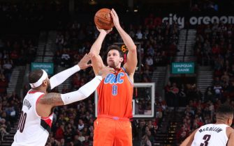 PORTLAND, OR - DECEMBER 8: Danilo Gallinari #8 of the Oklahoma City Thunder shoots a three-pointer against the Portland Trail Blazers on December 8, 2019 at the Moda Center Arena in Portland, Oregon. NOTE TO USER: User expressly acknowledges and agrees that, by downloading and or using this photograph, user is consenting to the terms and conditions of the Getty Images License Agreement. Mandatory Copyright Notice: Copyright 2019 NBAE (Photo by Sam Forencich/NBAE via Getty Images)