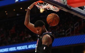 WASHINGTON, DC - DECEMBER 08: Paul George #13 of the Los Angeles Clippers dunks against the Washington Wizards during the first half at Capital One Arena on December 8, 2019 in Washington, DC. NOTE TO USER: User expressly acknowledges and agrees that, by downloading and or using this photograph, User is consenting to the terms and conditions of the Getty Images License Agreement. (Photo by Patrick Smith/Getty Images)