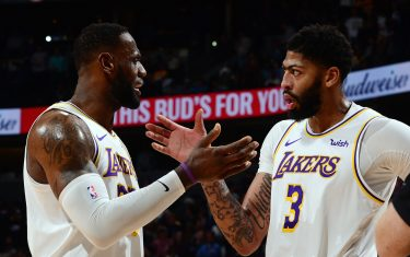 DENVER, CO - DECEMBER 3: LeBron James #23 of the Los Angeles Lakers and Anthony Davis #3 during the game against the Denver Nuggets on December 3, 2019 at the Pepsi Center in Denver, Colorado. NOTE TO USER: User expressly acknowledges and agrees that, by downloading and/or using this Photograph, user is consenting to the terms and conditions of the Getty Images License Agreement. Mandatory Copyright Notice: Copyright 2019 NBAE (Photo by Bart Young/NBAE via Getty Images)