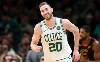 BOSTON, MASSACHUSETTS - DECEMBER 09: Gordon Hayward #20 of the Boston Celtics smiles during the second half of the game against the Cleveland Cavaliers at TD Garden on December 09, 2019 in Boston, Massachusetts. The Celtics defeat the Cavaliers 110-88. (Photo by Maddie Meyer/Getty Images)