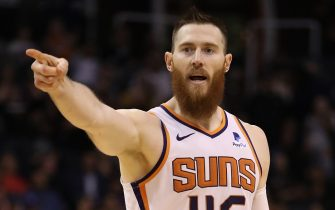 PHOENIX, ARIZONA - NOVEMBER 04: Aron Baynes #46 of the Phoenix Suns points during the second half of the NBA game against the Philadelphia 76ers at Talking Stick Resort Arena on November 04, 2019 in Phoenix, Arizona.  The Suns defeated the 76ers 114-109.  NOTE TO USER: User expressly acknowledges and agrees that, by downloading and/or using this photograph, user is consenting to the terms and conditions of the Getty Images License Agreement (Photo by Christian Petersen/Getty Images)