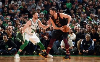 BOSTON, MA - DECEMBER 9: Kevin Love #0 of the Cleveland Cavaliers handles the ball during the game against the Boston Celtics on December 9, 2019 at the TD Garden in Boston, Massachusetts. NOTE TO USER: User expressly acknowledges and agrees that, by downloading and or using this photograph, User is consenting to the terms and conditions of the Getty Images License Agreement. Mandatory Copyright Notice: Copyright 2019 NBAE (Photo by Brian Babineau/NBAE via Getty Images)