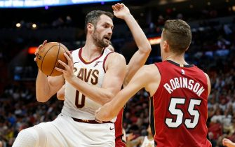 MIAMI, FLORIDA - NOVEMBER 20: Kevin Love #0 of the Cleveland Cavaliers in action against the Miami Heat during the first half at American Airlines Arena on November 20, 2019 in Miami, Florida. NOTE TO USER: User expressly acknowledges and agrees that, by downloading and/or using this photograph, user is consenting to the terms and conditions of the Getty Images License Agreement.  (Photo by Michael Reaves/Getty Images)