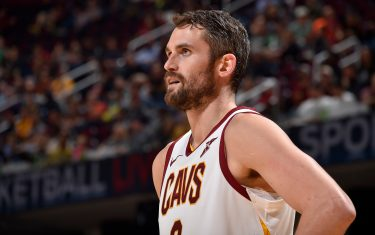 CLEVELAND, OH - NOVEMBER 5: Kevin Love #0 of the Cleveland Cavaliers looks on before the game against the Boston Celtics on November 5, 2019 at Quicken Loans Arena in Cleveland, Ohio. NOTE TO USER: User expressly acknowledges and agrees that, by downloading and/or using this Photograph, user is consenting to the terms and conditions of the Getty Images License Agreement. Mandatory Copyright Notice: Copyright 2019 NBAE (Photo by David Liam Kyle/NBAE via Getty Images)