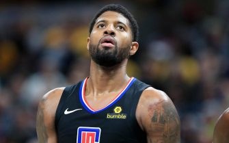 INDIANAPOLIS, INDIANA - DECEMBER 09:  Paul George #13 of the Los Angeles Clippers watches the action against the Indiana Pacers at Bankers Life Fieldhouse on December 09, 2019 in Indianapolis, Indiana.     NOTE TO USER: User expressly acknowledges and agrees that, by downloading and or using this photograph, User is consenting to the terms and conditions of the Getty Images License Agreement. (Photo by Andy Lyons/Getty Images)