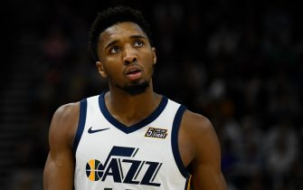 SALT LAKE CITY, UT - DECEMBER 09:  Donovan Mitchell #45 of the Utah Jazz in action during a game against the Oklahoma City Thunder at Vivint Smart Home Arena on December 9, 2019 in Salt Lake City, Utah. NOTE TO USER: User expressly acknowledges and agrees that, by downloading and/or using this photograph, user is consenting to the terms and conditions of the Getty Images License Agreement.  (Photo by Alex Goodlett/Getty Images)